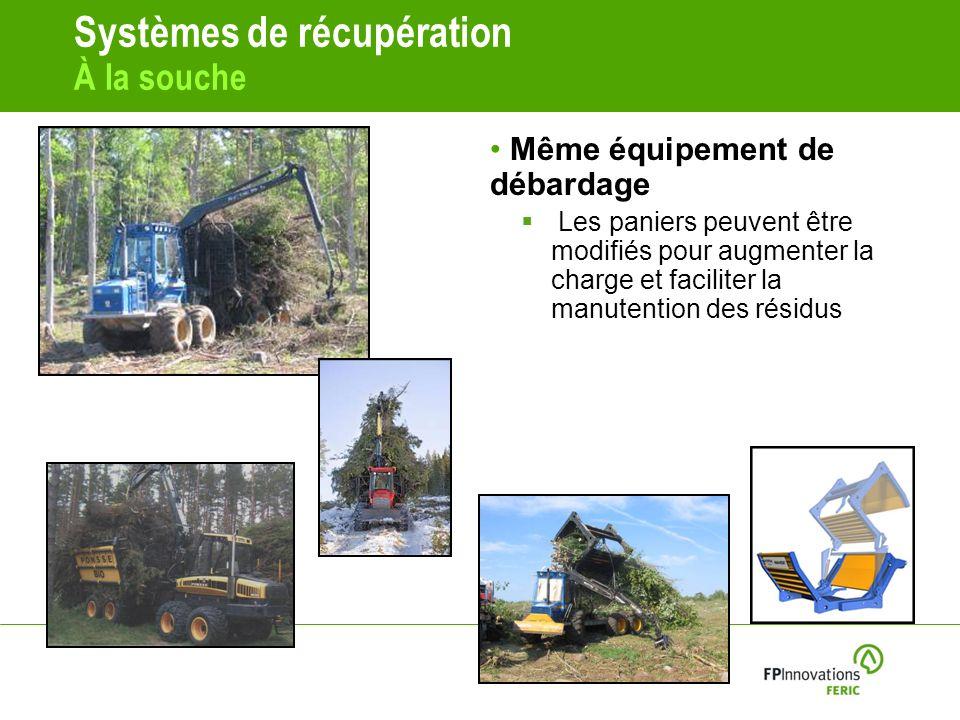 Systèmes de récupération À la souche Même équipement de débardage Les paniers peuvent être modifiés pour augmenter la charge et faciliter la manutention des résidus