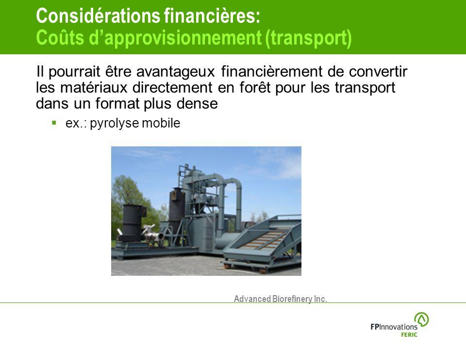 Considérations financières: Coûts dapprovisionnement (transport) Il pourrait être avantageux financièrement de convertir les matériaux directement en forêt pour les transport dans un format plus dense ex.: pyrolyse mobile Advanced Biorefinery Inc.