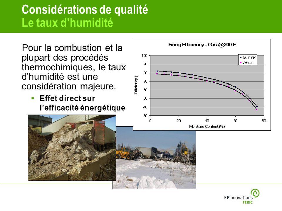 Considérations de qualité Le taux dhumidité Pour la combustion et la plupart des procédés thermochimiques, le taux dhumidité est une considération majeure.
