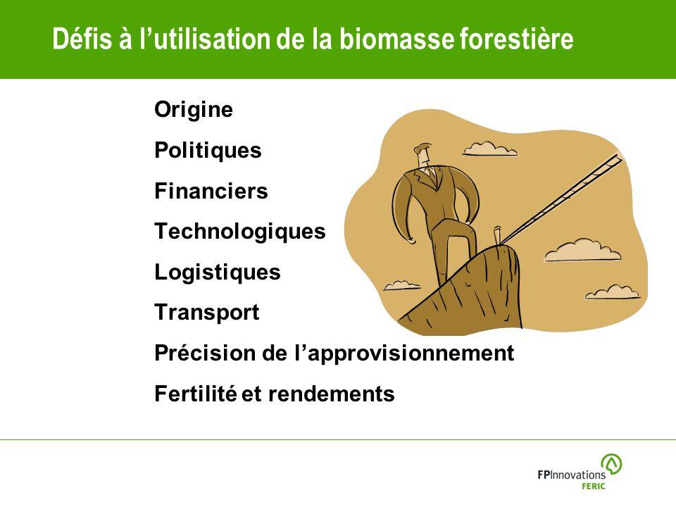 Défis à lutilisation de la biomasse forestière Origine Politiques Financiers Technologiques Logistiques Transport Précision de lapprovisionnement Fertilité et rendements
