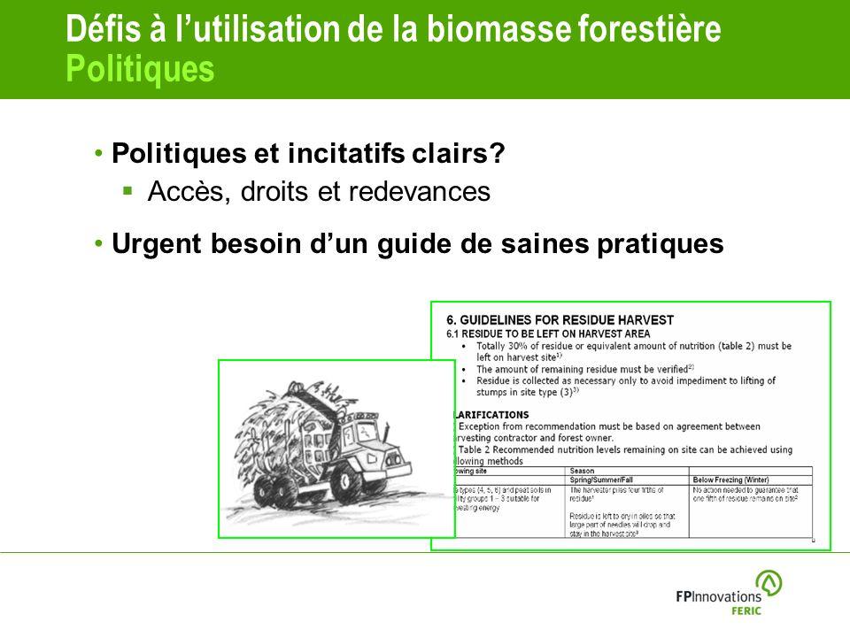 Défis à lutilisation de la biomasse forestière Politiques Politiques et incitatifs clairs.