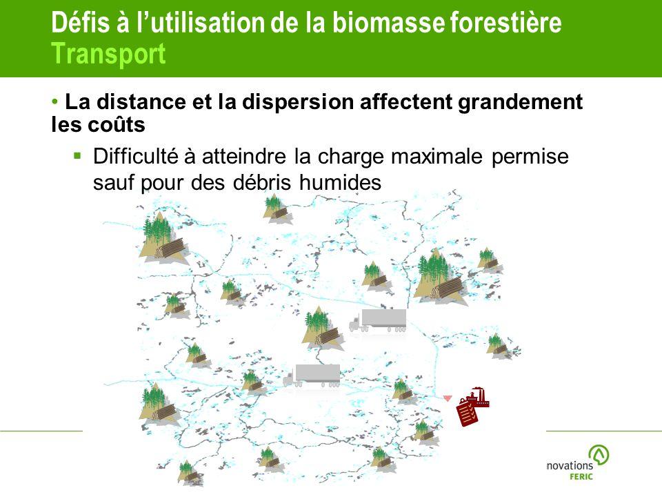 Défis à lutilisation de la biomasse forestière Transport La distance et la dispersion affectent grandement les coûts Difficulté à atteindre la charge maximale permise sauf pour des débris humides