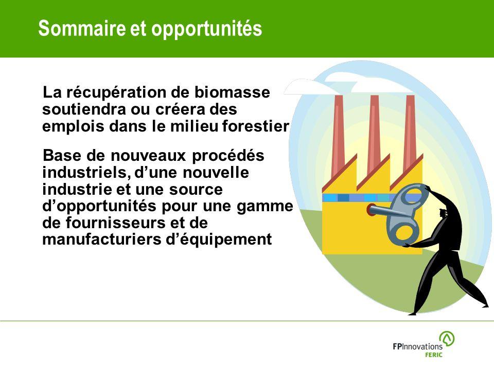 Sommaire et opportunités La récupération de biomasse soutiendra ou créera des emplois dans le milieu forestier Base de nouveaux procédés industriels, dune nouvelle industrie et une source dopportunités pour une gamme de fournisseurs et de manufacturiers déquipement