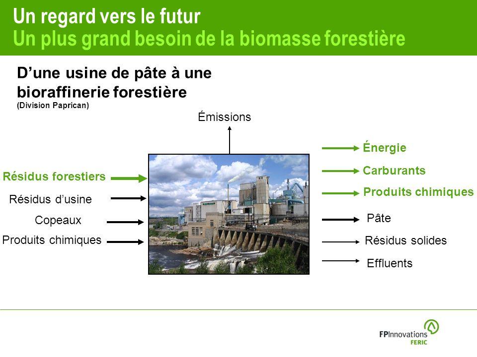 Un regard vers le futur Un plus grand besoin de la biomasse forestière Copeaux Produits chimiques Résidus dusine Pâte Émissions Résidus solides Effluents Résidus forestiers Carburants Produits chimiques Énergie Dune usine de pâte à une bioraffinerie forestière (Division Paprican)