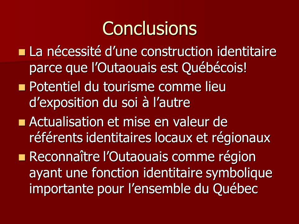 Conclusions La nécessité dune construction identitaire parce que lOutaouais est Québécois.