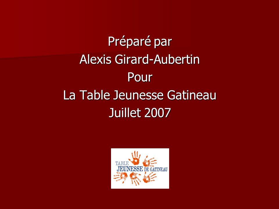 Préparé par Alexis Girard-Aubertin Pour La Table Jeunesse Gatineau Juillet 2007