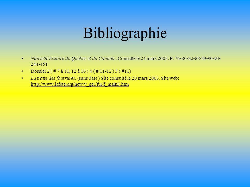 Bibliographie Nouvelle histoire du Québec et du Canada.. Consulté le 24 mars 2003. P. 76-80-82-88-89-90-94- 244-451 Dossier 2 ( # 7 à 11, 12 à 16 ) 4
