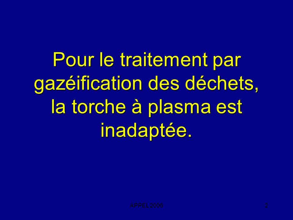 APPEL 20062 Pour le traitement par gazéification des déchets, la torche à plasma est inadaptée.