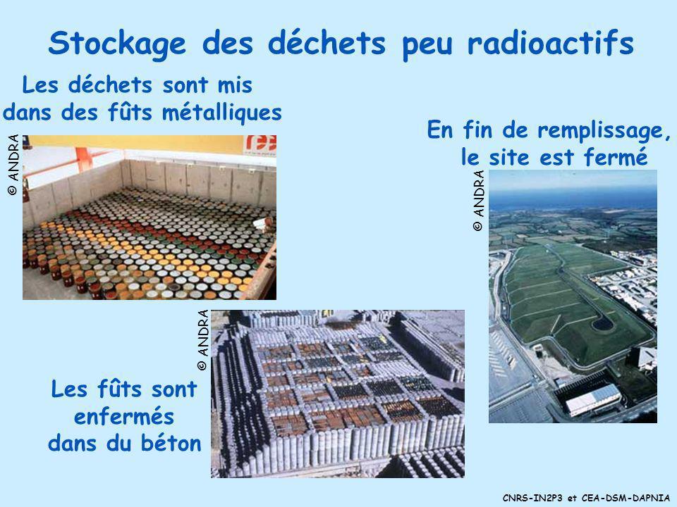 CNRS-IN2P3 et CEA-DSM-DAPNIA 3 types de déchets : Déchets de haute radiotoxicité -Demi-vie jusquà 25 000 ans !! (plutonium) En 40 ans, volume~3 piscin