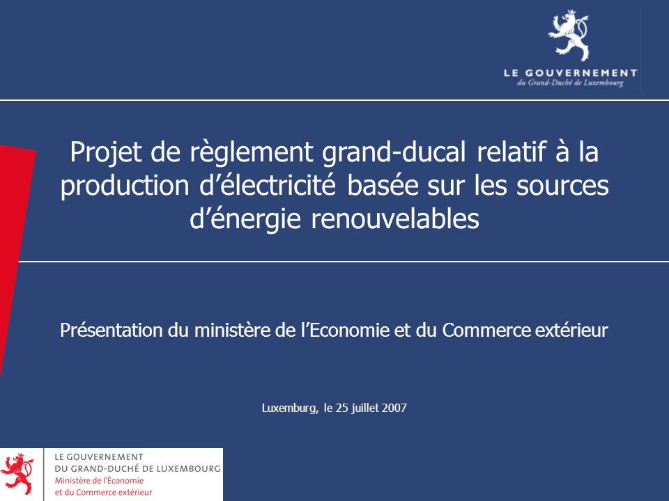 12 Projet de règlement grand-ducal relatif à la production délectricité basée sur les sources dénergie renouvelables Présentation du ministère de lEconomie et du Commerce extérieur Luxemburg, le 25 juillet 2007