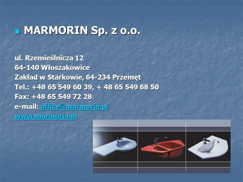 MARMORIN Sp. z o.o. MARMORIN Sp. z o.o. ul. Rzemieślnicza 12 64-140 Włoszakowice Zakład w Starkowie, 64-234 Przemęt Tel.: +48 65 549 60 39, + 48 65 54