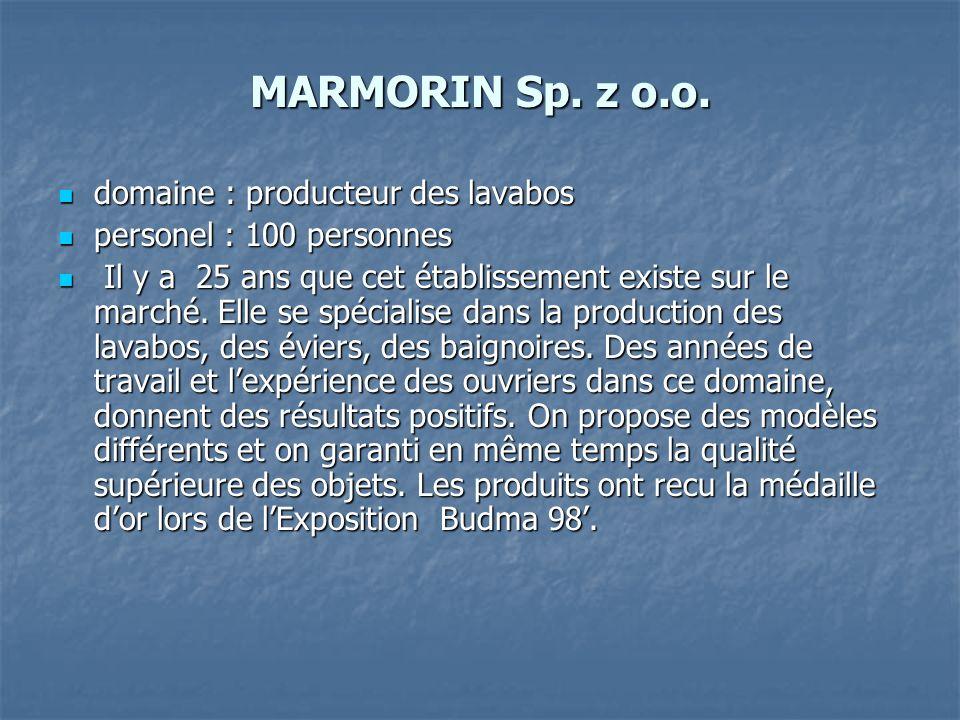 MARMORIN Sp. z o.o. domaine : producteur des lavabos domaine : producteur des lavabos personel : 100 personnes personel : 100 personnes Il y a 25 ans