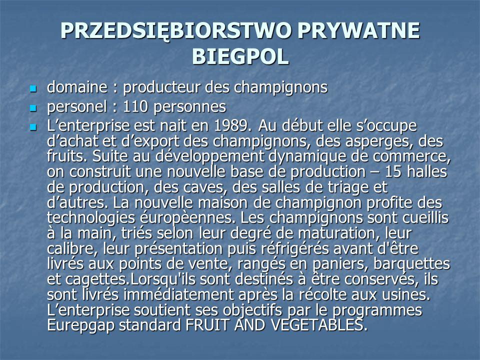 PRZEDSIĘBIORSTWO PRYWATNE BIEGPOL domaine : producteur des champignons domaine : producteur des champignons personel : 110 personnes personel : 110 pe