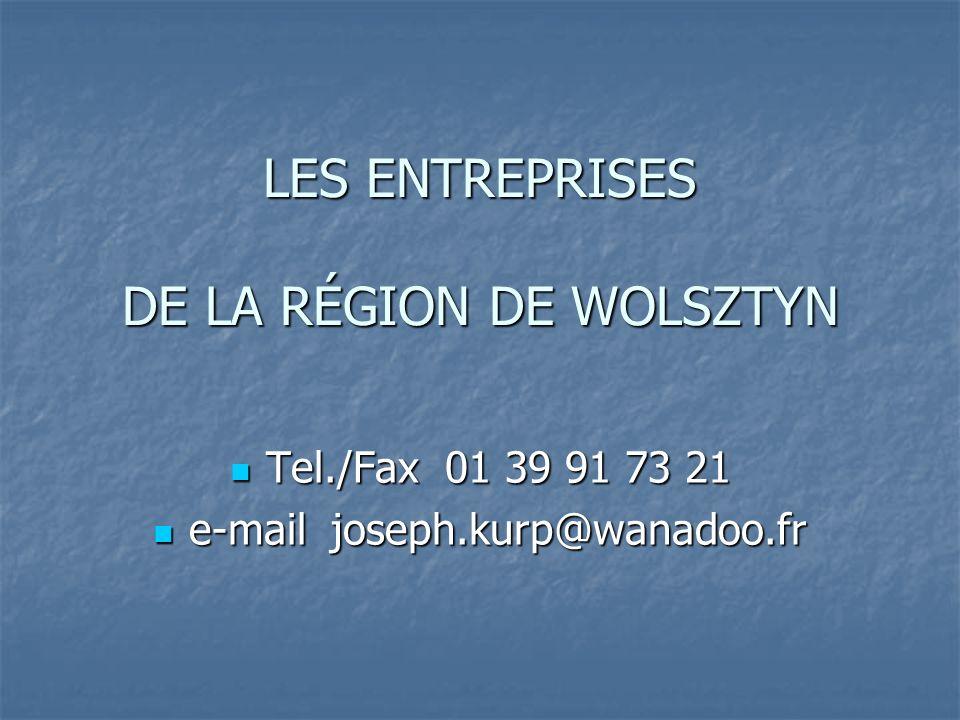 LES ENTREPRISES DE LA RÉGION DE WOLSZTYN Tel./Fax 01 39 91 73 21 Tel./Fax 01 39 91 73 21 e-mail joseph.kurp@wanadoo.fr e-mail joseph.kurp@wanadoo.fr