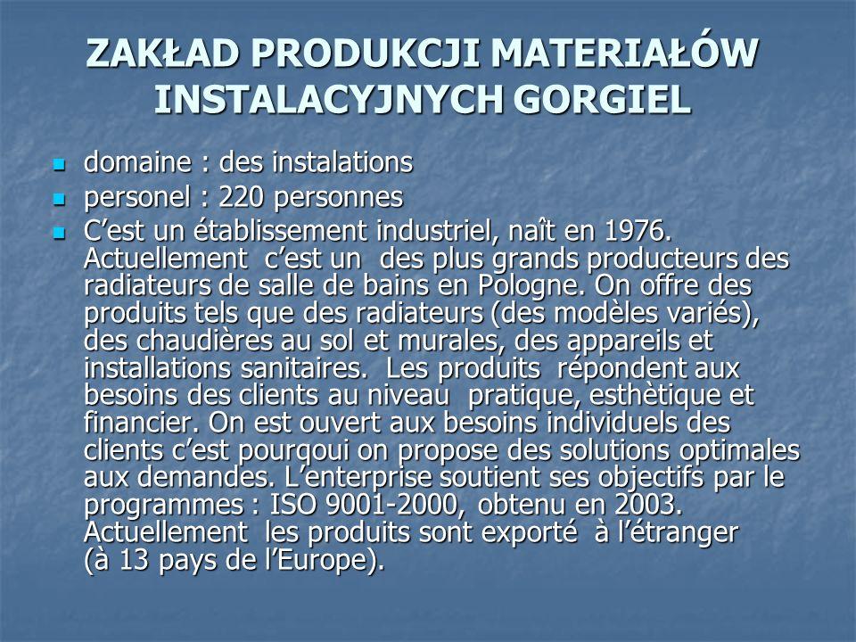 ZAKŁAD PRODUKCJI MATERIAŁÓW INSTALACYJNYCH GORGIEL domaine : des instalations domaine : des instalations personel : 220 personnes personel : 220 perso