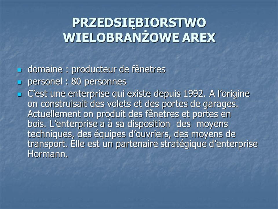 PRZEDSIĘBIORSTWO WIELOBRANŻOWE AREX domaine : producteur de fênetres domaine : producteur de fênetres personel : 80 personnes personel : 80 personnes