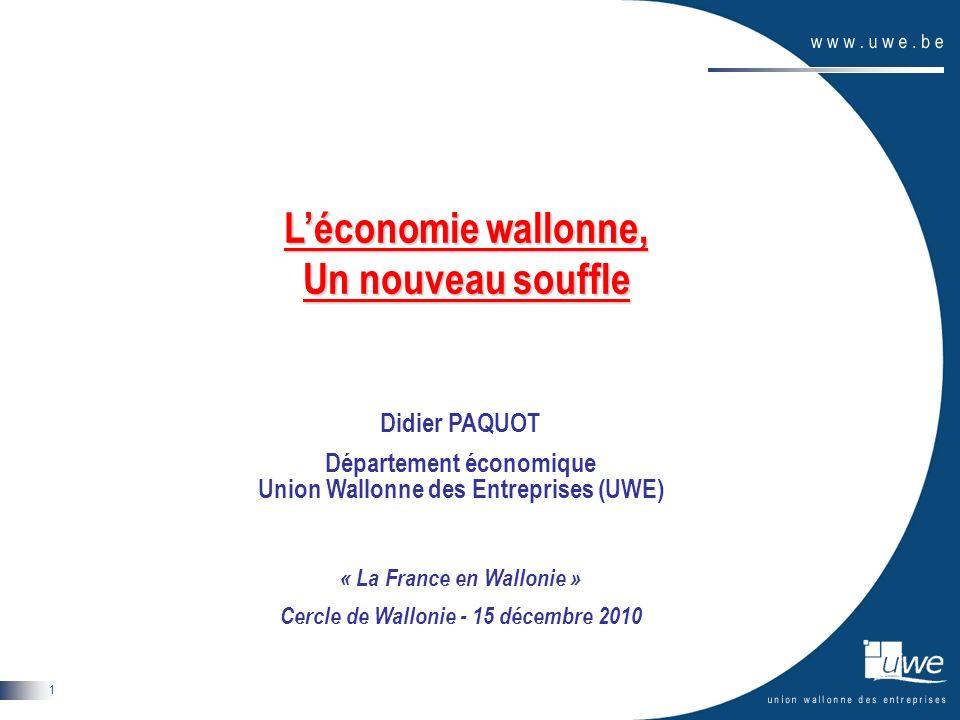 La France en Wallonie – 15 décembre 2010 2 Plan de lexposé Présentation de lUWE Situation macroéconomique de léconomie wallonne Les entreprises wallonnes : un nouveau souffle Une politique industrielle ambitieuse Conclusions
