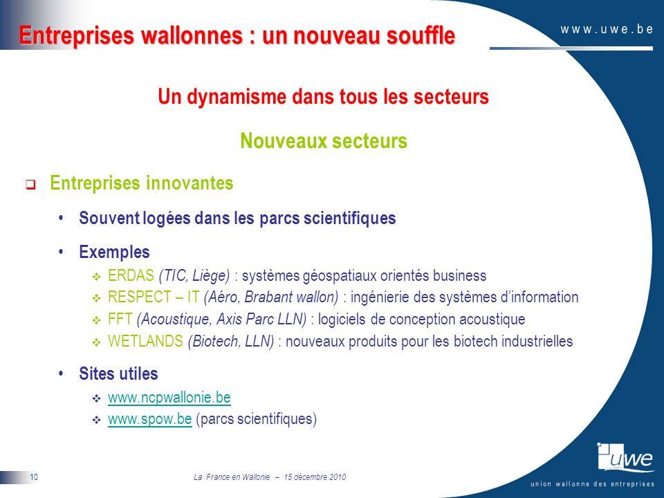 La France en Wallonie – 15 décembre 2010 10 Entreprises wallonnes : un nouveau souffle Un dynamisme dans tous les secteurs Nouveaux secteurs Entreprises innovantes Souvent logées dans les parcs scientifiques Exemples ERDAS (TIC, Liège) : systèmes géospatiaux orientés business RESPECT – IT (Aéro, Brabant wallon) : ingénierie des systèmes dinformation FFT (Acoustique, Axis Parc LLN) : logiciels de conception acoustique WETLANDS (Biotech, LLN) : nouveaux produits pour les biotech industrielles Sites utiles www.ncpwallonie.be www.spow.be (parcs scientifiques) www.spow.be