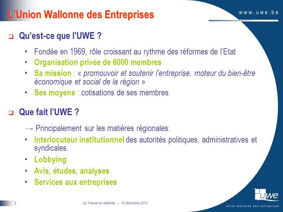 La France en Wallonie – 15 décembre 2010 4 Evolution conjoncturelle de la Wallonie en phase avec le cycle conjoncturel européen