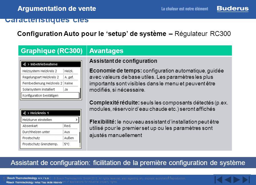 Bosch Thermotechnology n.v. / s.a. Bosch Thermotechnology nv/sa. Tous droits réservés 11 Caractéristiques clés Internal | TT/STI | 17/07/2013 | © Bosc