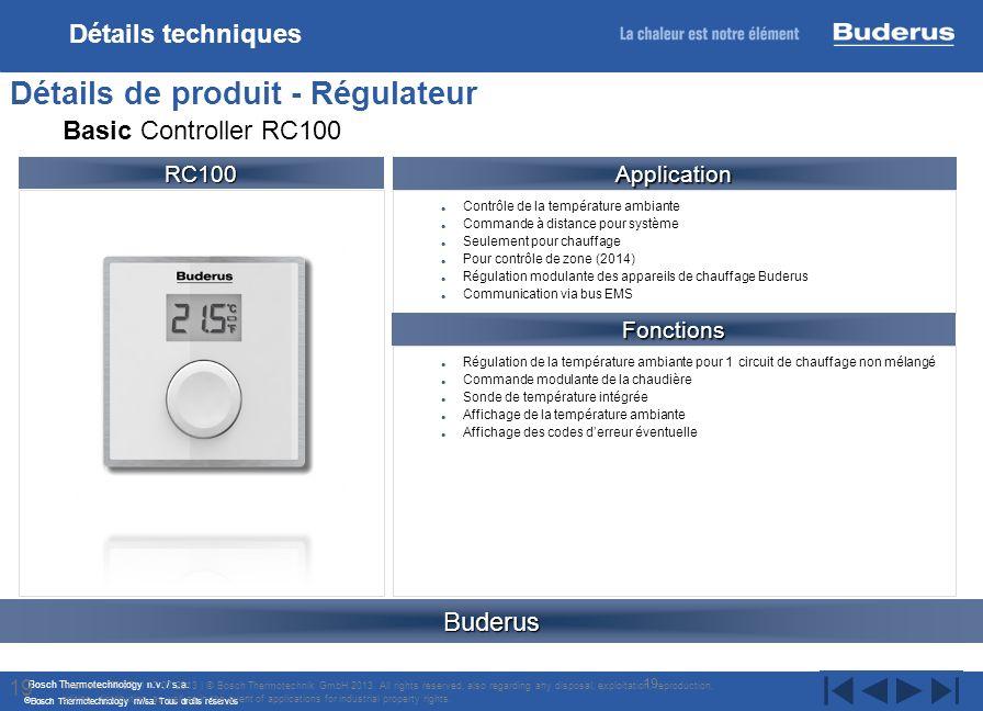 Bosch Thermotechnology n.v. / s.a. Bosch Thermotechnology nv/sa. Tous droits réservés Contrôle de la température ambiante Commande à distance pour sys