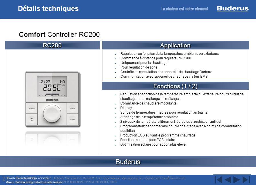 Bosch Thermotechnology n.v. / s.a. Bosch Thermotechnology nv/sa. Tous droits réservés Régulation en fonction de la température ambiante ou extérieure