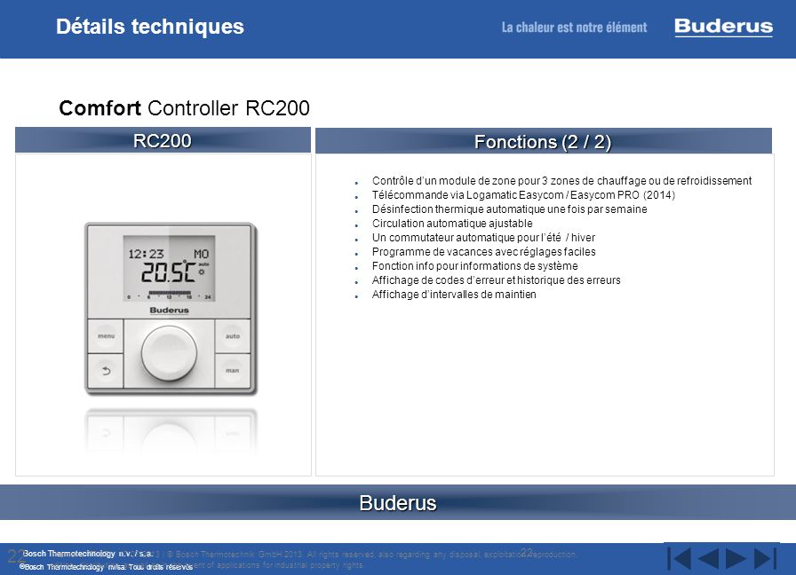 Bosch Thermotechnology n.v. / s.a. Bosch Thermotechnology nv/sa. Tous droits réservés Contrôle dun module de zone pour 3 zones de chauffage ou de refr