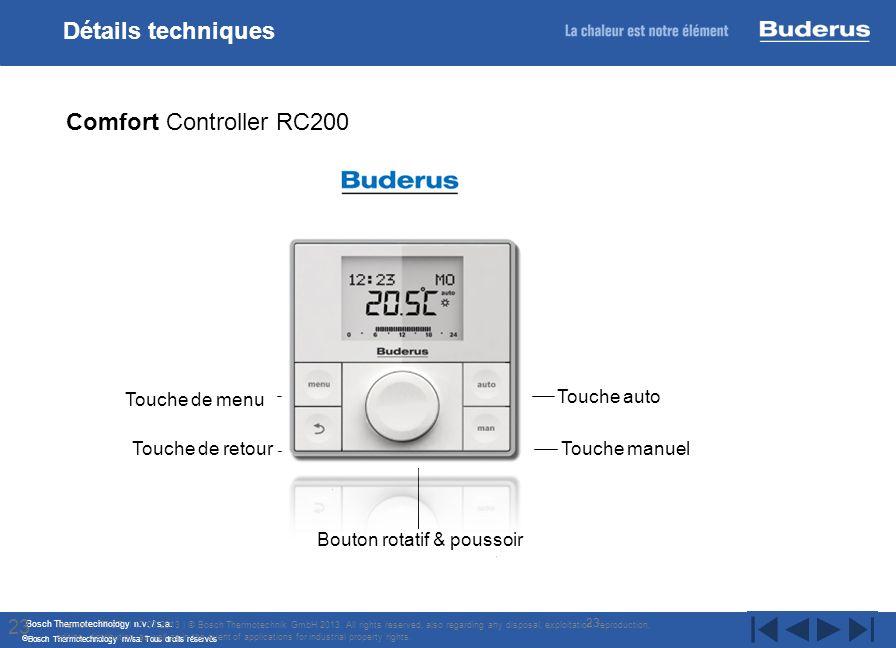 Bosch Thermotechnology n.v. / s.a. Bosch Thermotechnology nv/sa. Tous droits réservés 23 Internal | TT/STI | 17/07/2013 | © Bosch Thermotechnik GmbH 2