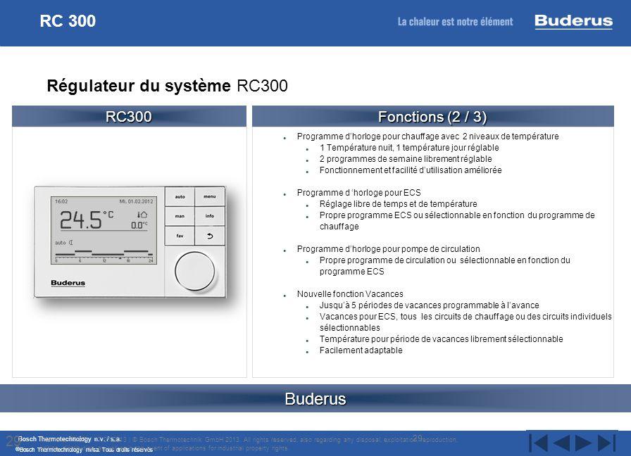 Bosch Thermotechnology n.v. / s.a. Bosch Thermotechnology nv/sa. Tous droits réservés Programme dhorloge pour chauffage avec 2 niveaux de température