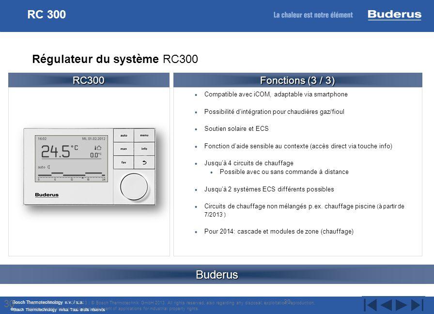 Bosch Thermotechnology n.v. / s.a. Bosch Thermotechnology nv/sa. Tous droits réservés Compatible avec iCOM, adaptable via smartphone Possibilité dinté
