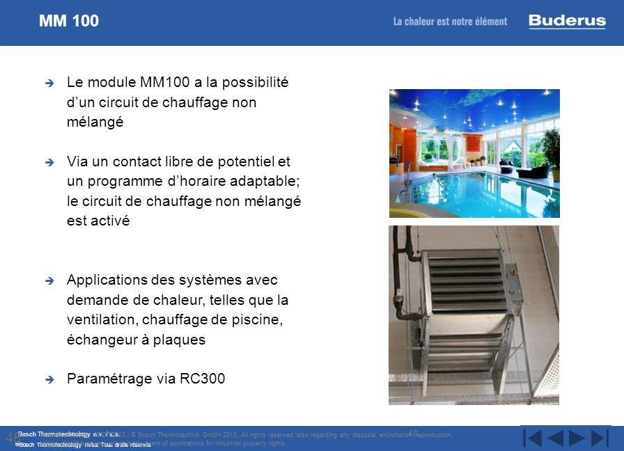 Bosch Thermotechnology n.v. / s.a. Bosch Thermotechnology nv/sa. Tous droits réservés Le module MM100 a la possibilité dun circuit de chauffage non mé