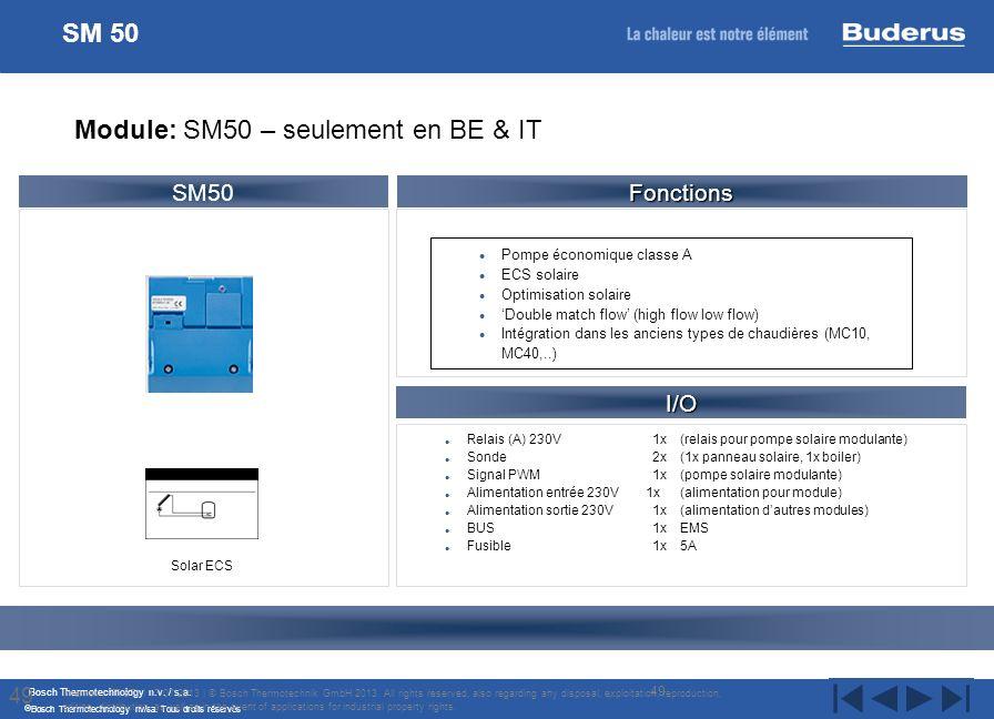 Bosch Thermotechnology n.v. / s.a. Bosch Thermotechnology nv/sa. Tous droits réservés Relais (A) 230V 1x (relais pour pompe solaire modulante) Sonde2x