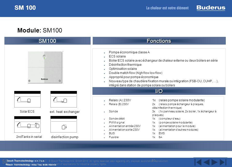 Bosch Thermotechnology n.v. / s.a. Bosch Thermotechnology nv/sa. Tous droits réservés Pompe économique classe A ECS solaire Boiler ECS solaire avec éc