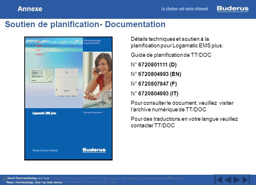 Bosch Thermotechnology n.v. / s.a. Bosch Thermotechnology nv/sa. Tous droits réservés 60 Soutien de planification- Documentation Internal | TT/STI | 1