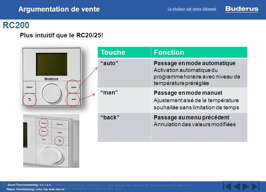 Bosch Thermotechnology n.v. / s.a. Bosch Thermotechnology nv/sa. Tous droits réservés 7 RC200 Internal | TT/STI | 17/07/2013 | © Bosch Thermotechnik G
