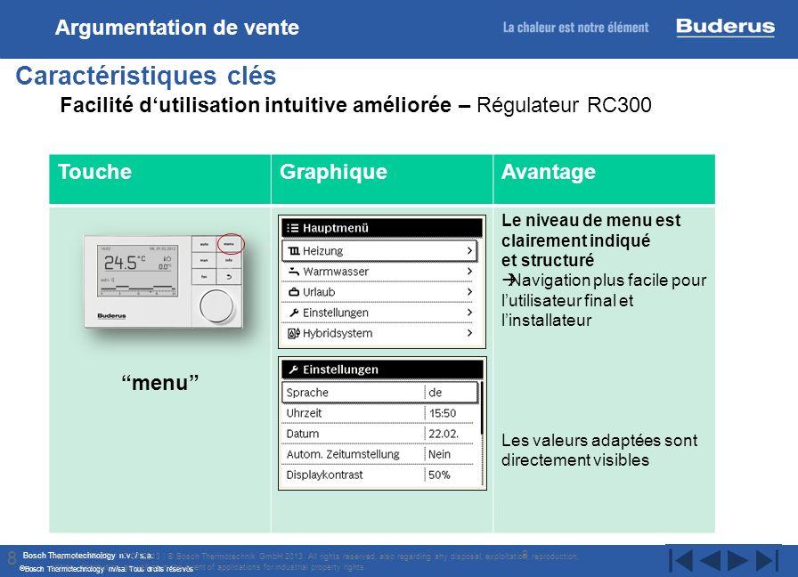 Bosch Thermotechnology n.v. / s.a. Bosch Thermotechnology nv/sa. Tous droits réservés 8 Caractéristiques clés Internal | TT/STI | 17/07/2013 | © Bosch