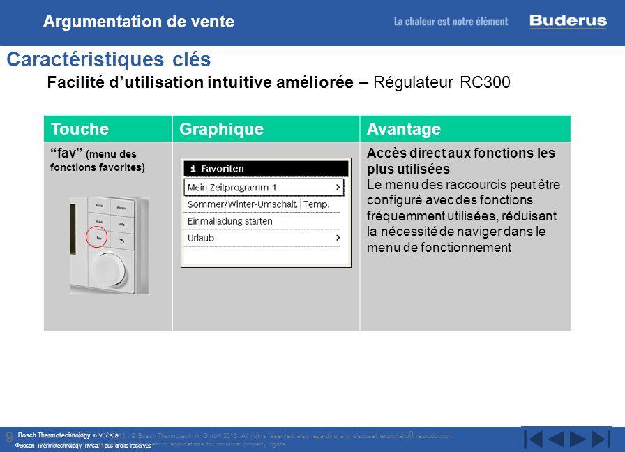 Bosch Thermotechnology n.v. / s.a. Bosch Thermotechnology nv/sa. Tous droits réservés 9 Caractéristiques clés Internal | TT/STI | 17/07/2013 | © Bosch