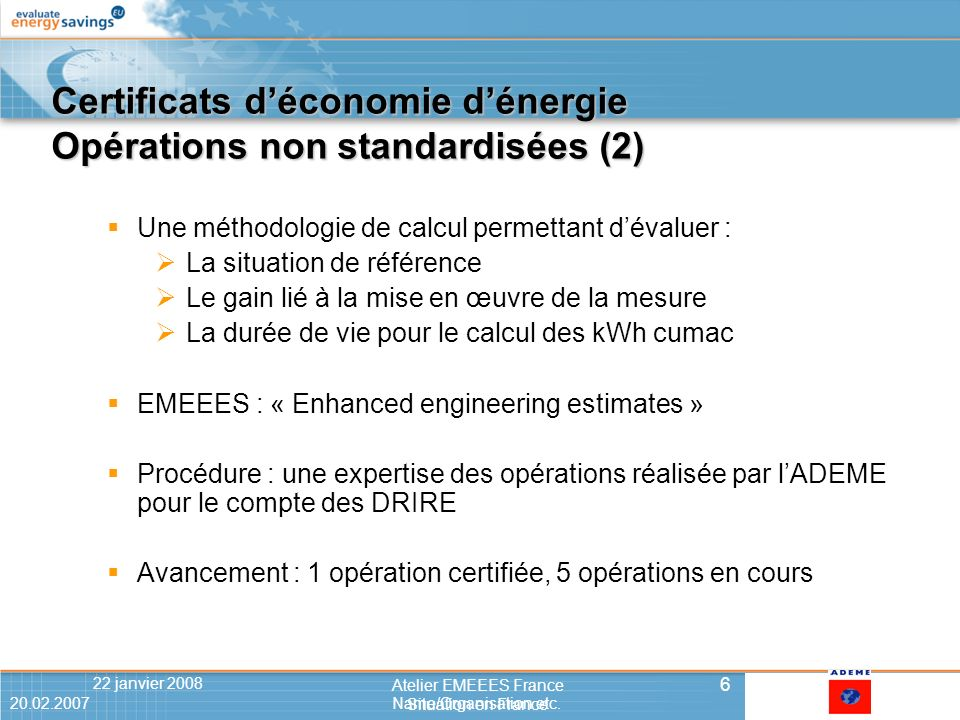 20.02.2007Name/Organisation etc.622 janvier 2008 6 Atelier EMEEES France Situation en France 20.02.2007Name/Organisation etc.