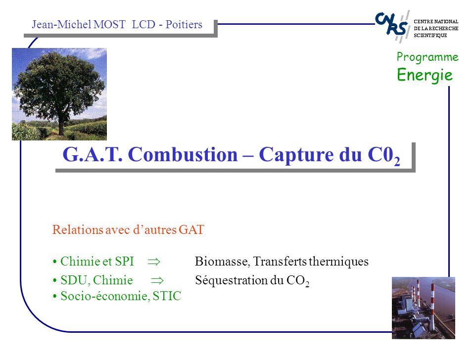 G.A.T. Combustion – Capture du C0 2 Programme Energie Relations avec dautres GAT Chimie et SPI Biomasse, Transferts thermiques SDU, Chimie Séquestrati