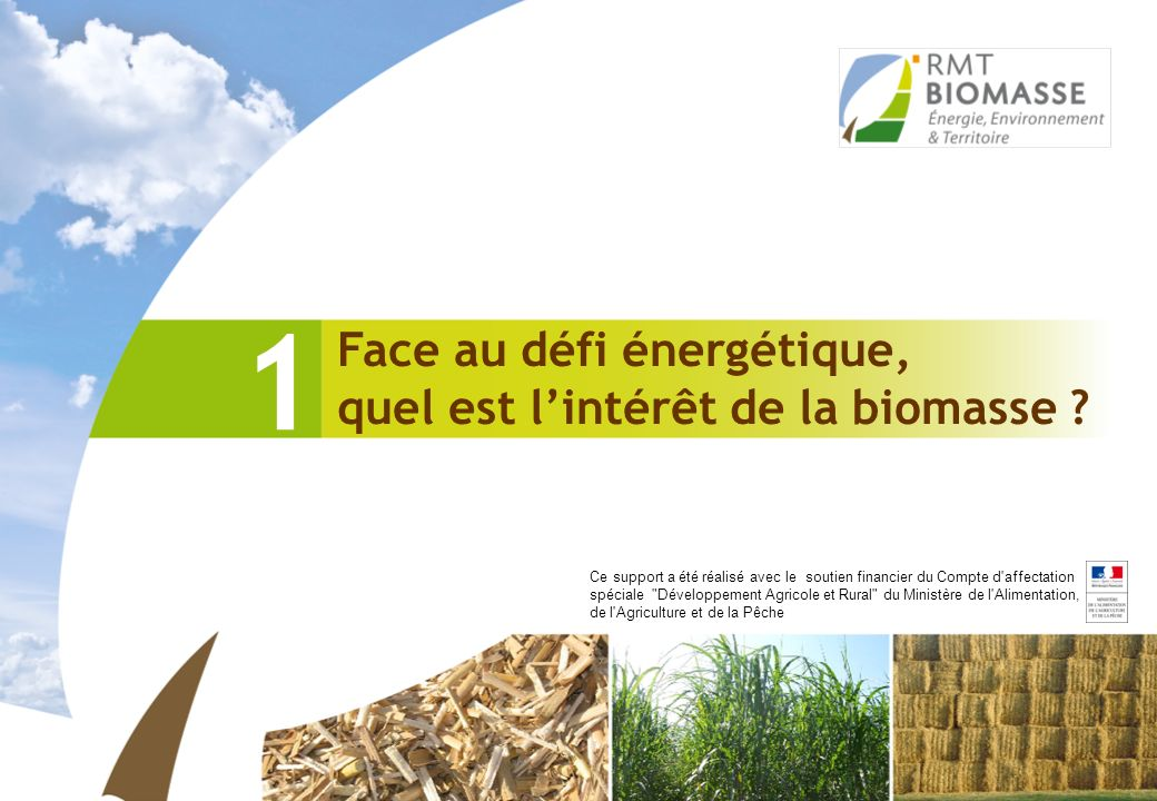 Face au défi énergétique, quel est lintérêt de la biomasse ? 1 Ce support a été réalisé avec le soutien financier du Compte d'affectation spéciale