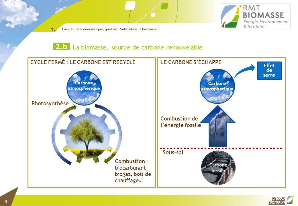 Photosynthèse Combustion : biocarburant, biogaz, bois de chauffage… Carbone atmosphérique CYCLE FERMÉ : LE CARBONE EST RECYCLÉ Carbone atmosphérique C