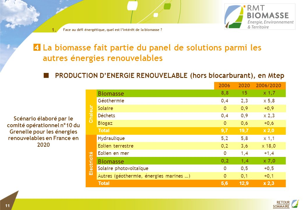 PRODUCTION DENERGIE RENOUVELABLE (hors biocarburant), en Mtep Scénario élaboré par le comité opérationnel n°10 du Grenelle pour les énergies renouvela