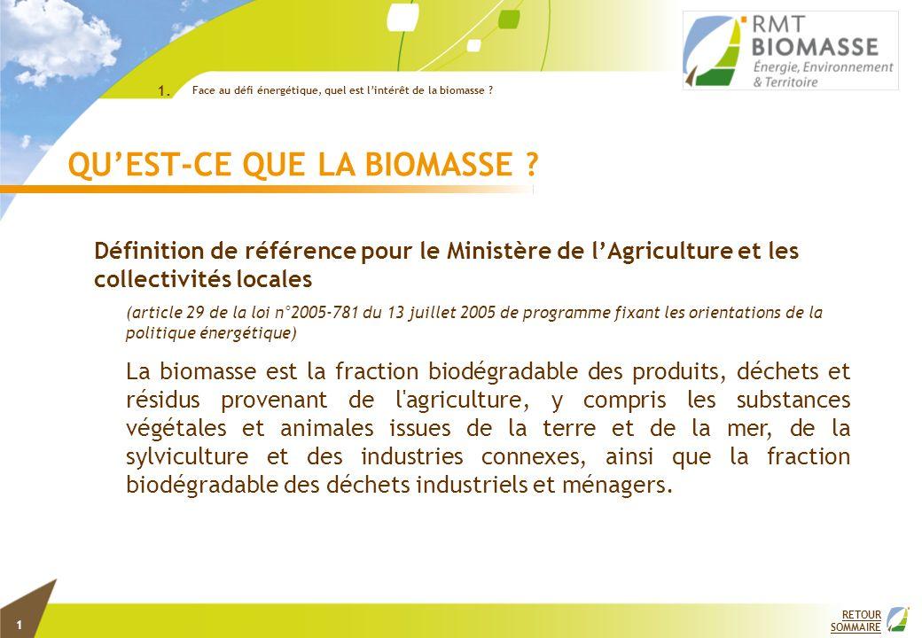 1 QUEST-CE QUE LA BIOMASSE ? Définition de référence pour le Ministère de lAgriculture et les collectivités locales (article 29 de la loi n°2005-781 d