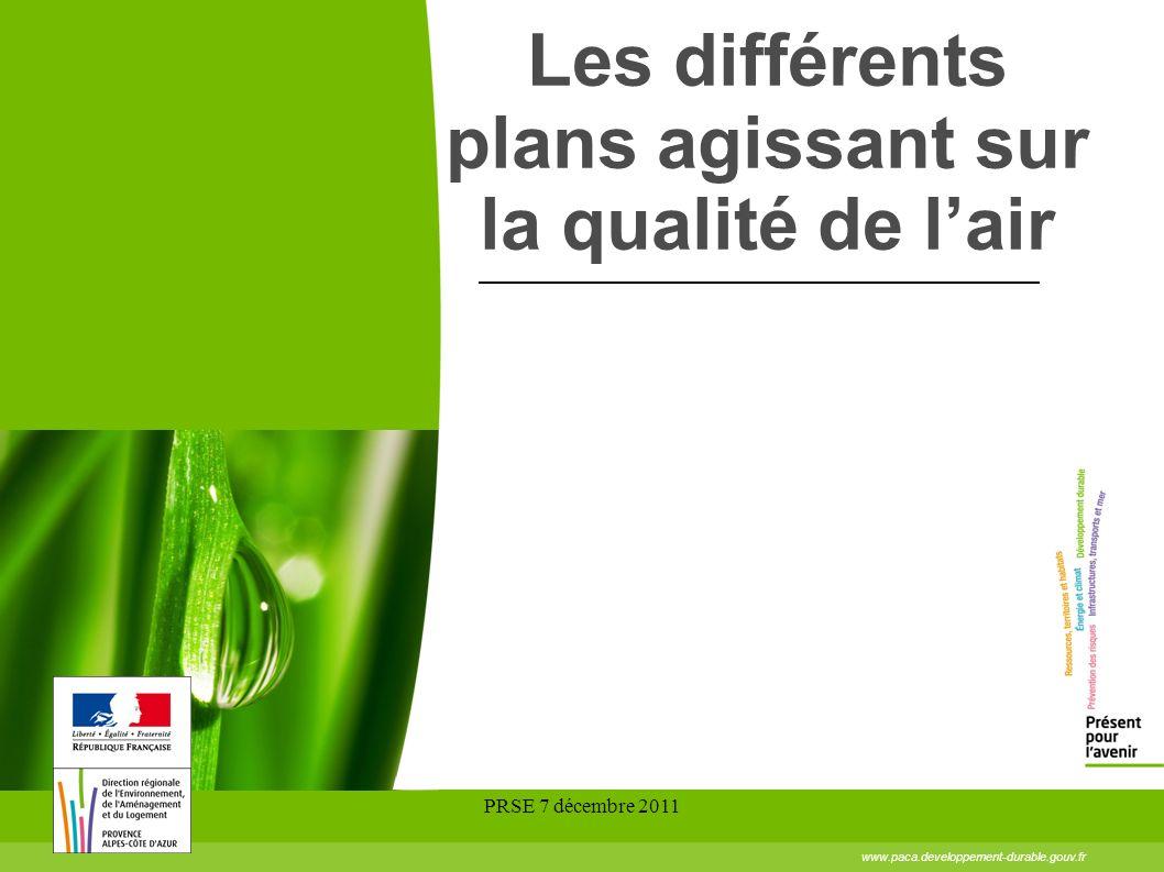 PRSE 7 décembre 2011 Les différents plans agissant sur la qualité de lair www.paca.developpement-durable.gouv.fr