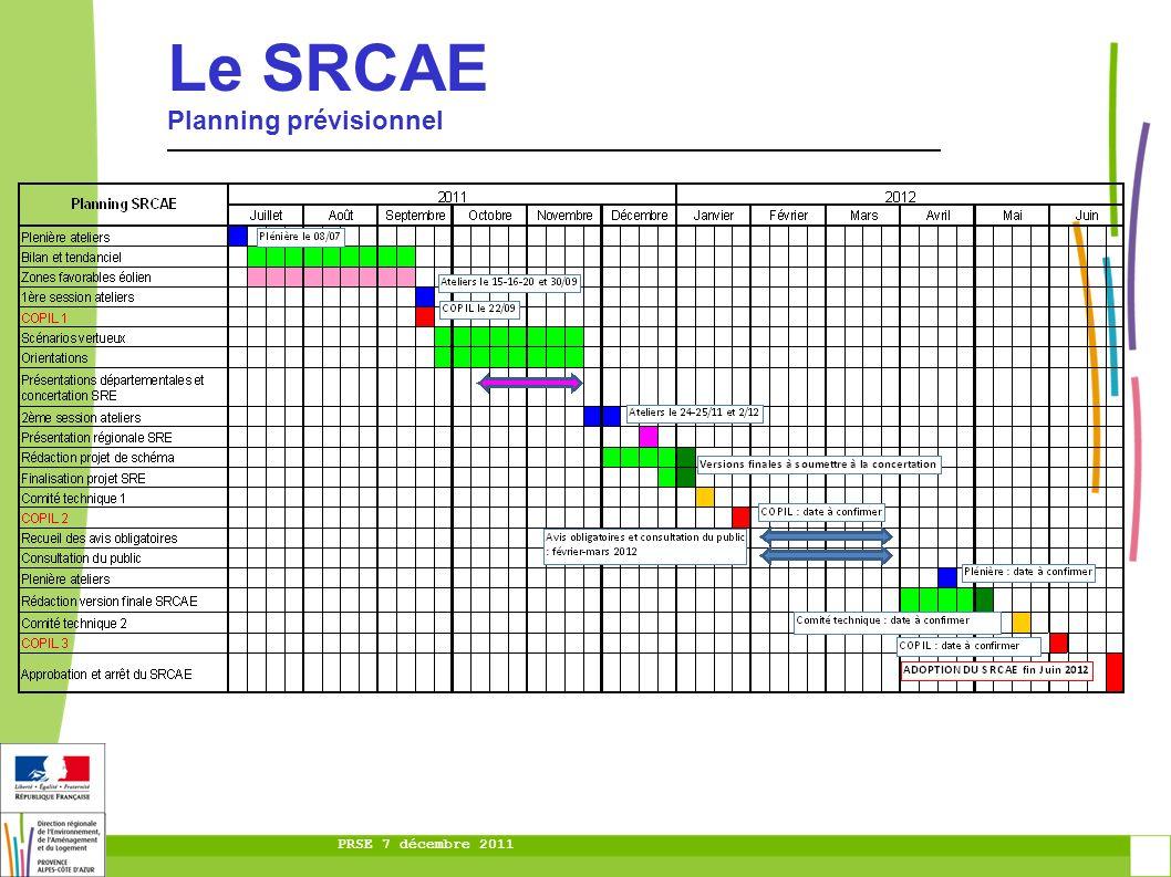 PRSE 7 décembre 2011 Le SRCAE Planning prévisionnel