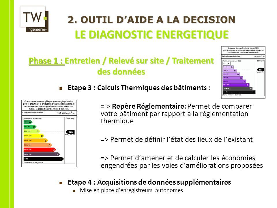 Etape 3 : Calculs Thermiques des bâtiments : = > Repère Réglementaire: Permet de comparer votre bâtiment par rapport à la réglementation thermique =>