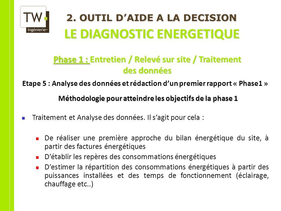 2. OUTIL DAIDE A LA DECISION LE DIAGNOSTIC ENERGETIQUE Etape 5 : Analyse des données et rédaction dun premier rapport « Phase1 » Méthodologie pour att