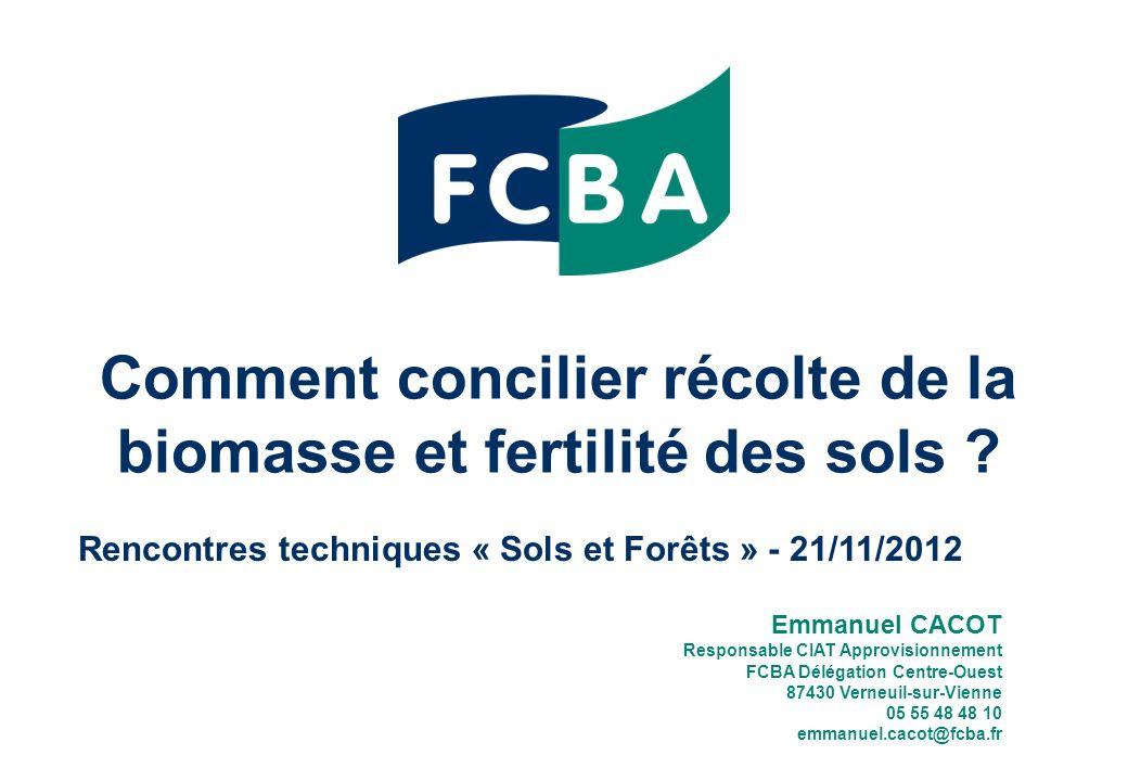 Comment concilier récolte de la biomasse et fertilité des sols .