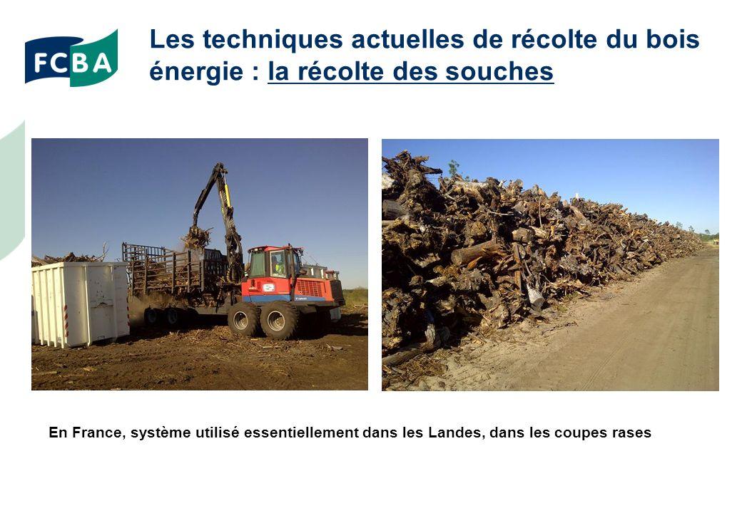 Les techniques actuelles de récolte du bois énergie : la récolte des souches En France, système utilisé essentiellement dans les Landes, dans les coupes rases