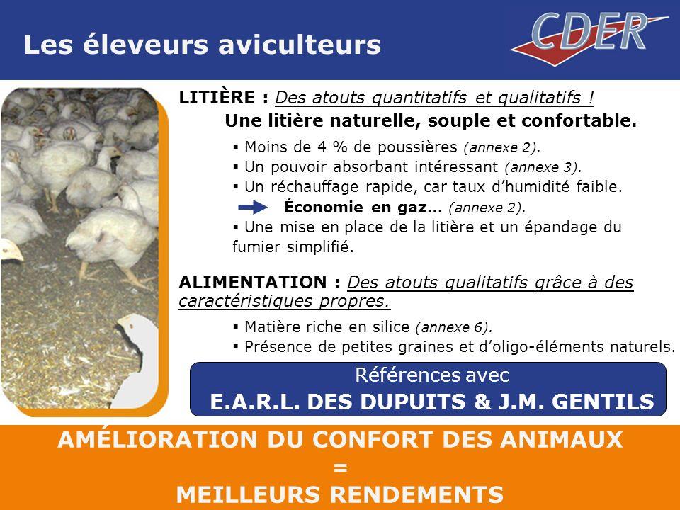 Les éleveurs aviculteurs LITIÈRE : Des atouts quantitatifs et qualitatifs .